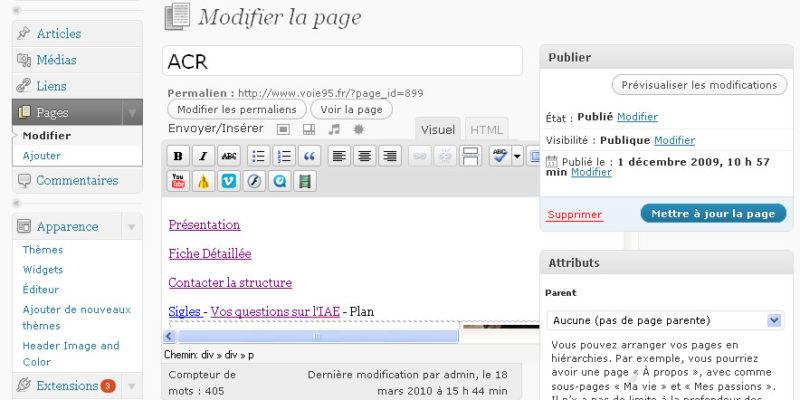 Interface administrative wordpress